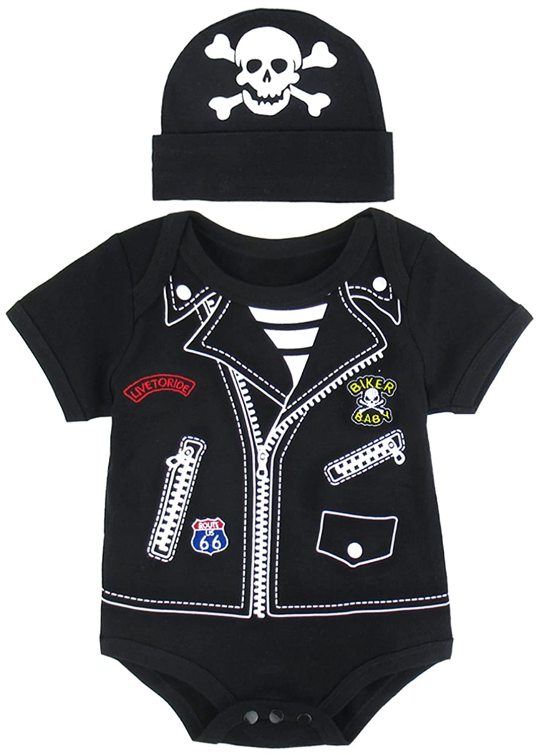 Mombebe Baby Boys' Punk Biker Costume Bodysuit With Hat