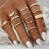 BERYUAN Women 12Pcs Gold Vintage Knuckle Wings Ring Set Vintage Gold Crystal Joint Knuckle Ring Set for Women and Girls(Gold)