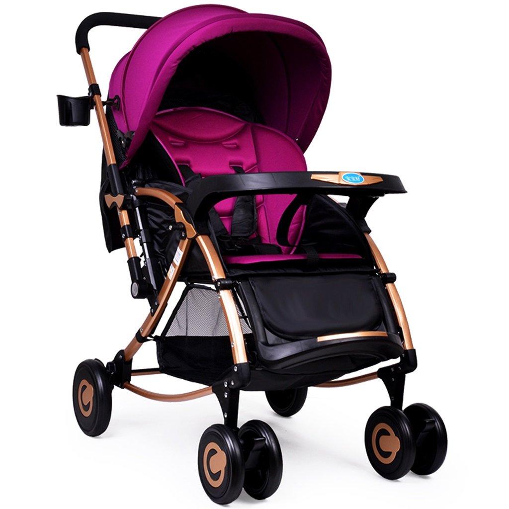 HAIZHEN マウンテンバイク ベビーカート多機能は、座って/嘘/軽く折り畳むことができる二方向プッシュロッド子供のトロリーカーボンスチールフレーム5点のシートベルトショッピングバスの日差しの日保護UVプロテクターベビーキャリッジ56 * 80 * 105センチメートル 新生児 B07DRXMJ7R パープル ぱ゜ぷる パープル ぱ゜ぷる