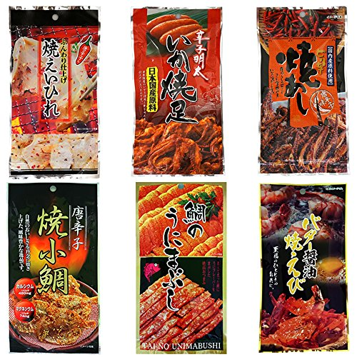 Kuji Appetizers 6pcs Set Japanese Dried Seafood Nibbles Assortment Kujifood Ninjapo by Ninjapo
