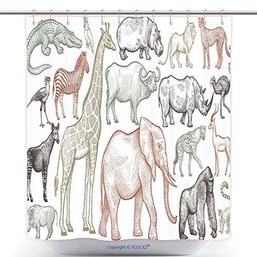 Mildew-Resistant Shower Curtains African Animals Set Elephant Giraffe Buffalo Hippo Rhino Lion Cheetah Antelope Ostrich 524784280 Bath Decorations Bathroom Decor Sets With Hooks