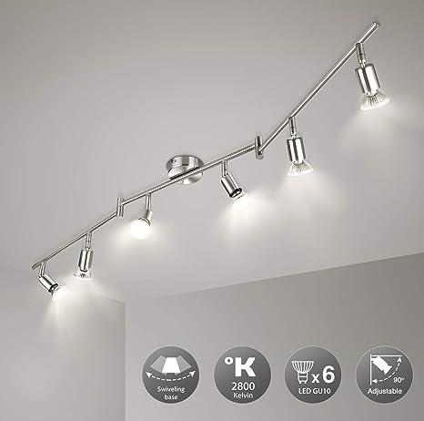 GU10 Plafoniera a 4 luci LED per soggiorno cucina orientabile corridoio rettangolari con 4 faretti da 5 W camera da letto