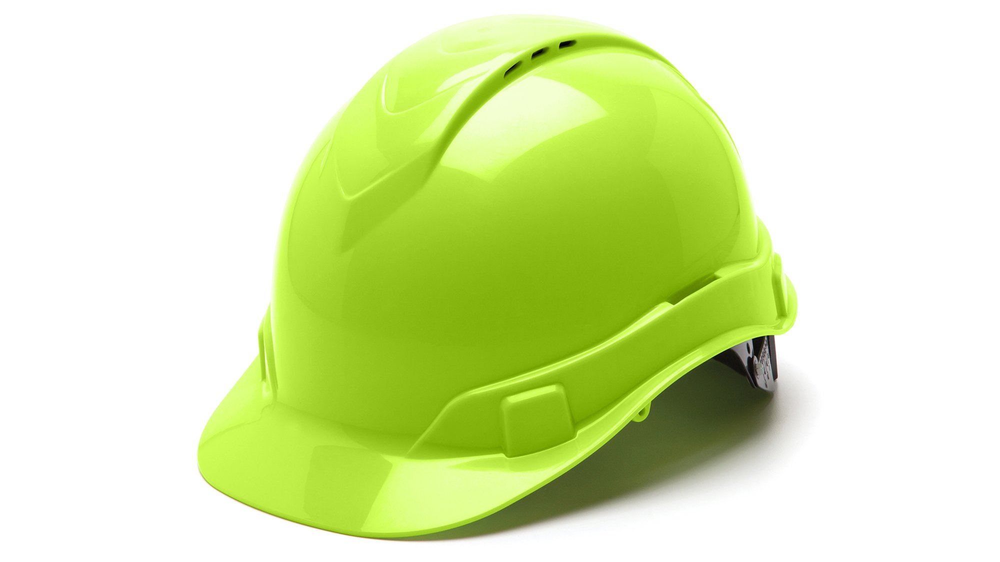 Pyramex HP44131V Ridgeline Cap Style Hard Hat with 4-Point Vented Ratchet, Hi-Vis Green by Pyramex Safety