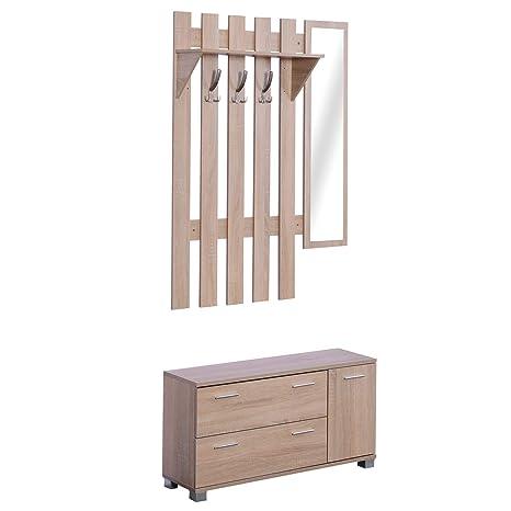 HOMCOM 3 EN 1 Conjunto de Muebles de Entrada Recibidor Pasillo Set de 3 Piezas Perchero Espejo Zapatero 2 Cajones Color Roble