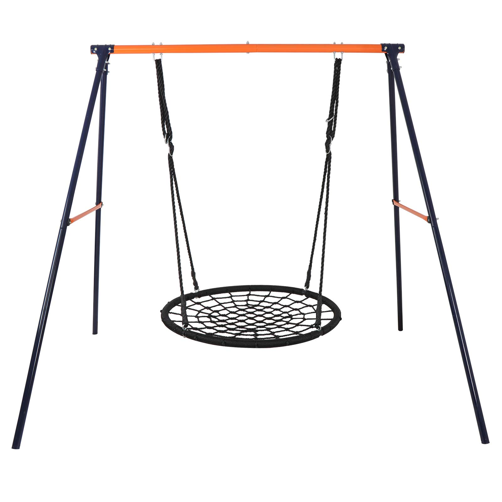 ZENY Swing Set - 24'' Spinner Web Tree Swing Nylon Rope + All Weather Steel A Swing Frame Stand,Great for Backyard Kids Play Fun by ZENY (Image #4)