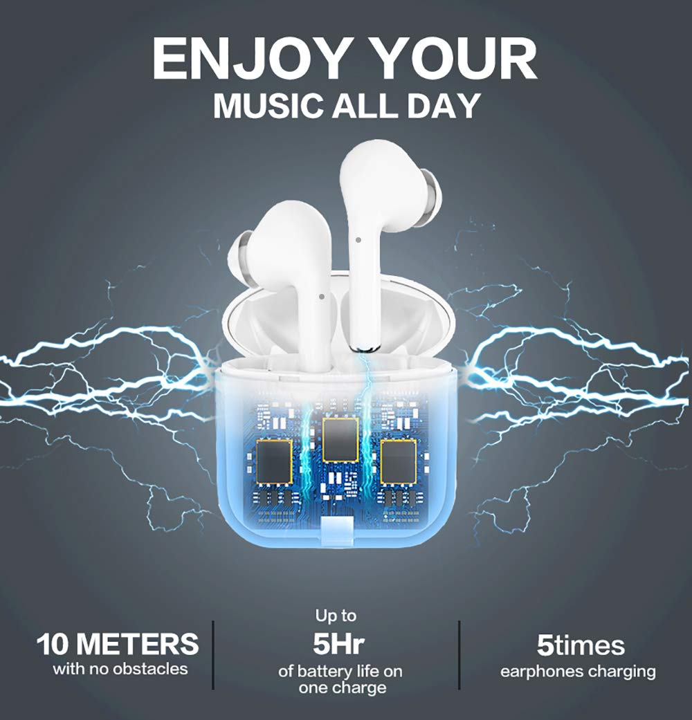 GIIKNEW Wireless Headphones 2019 Upgrade , Bluetooth 5.0 Smart Touch Control Wireless Earphones 5 15 H Playtime Built-in Dual Mic, Stereo Sound Bluetooth Earphones for All Bluetooth Devices