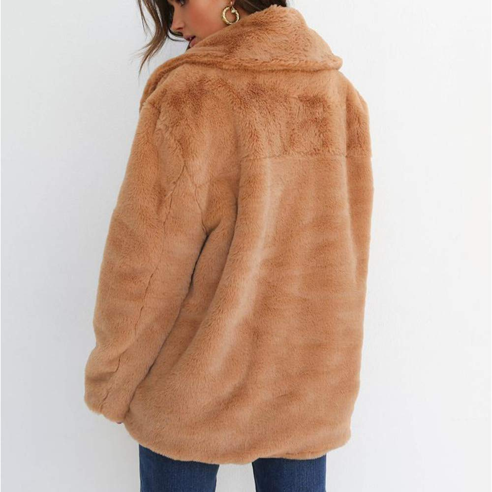 Womens Outerwear Loose Big Collar Fur Coat Keep Warm Oversize Overcoat