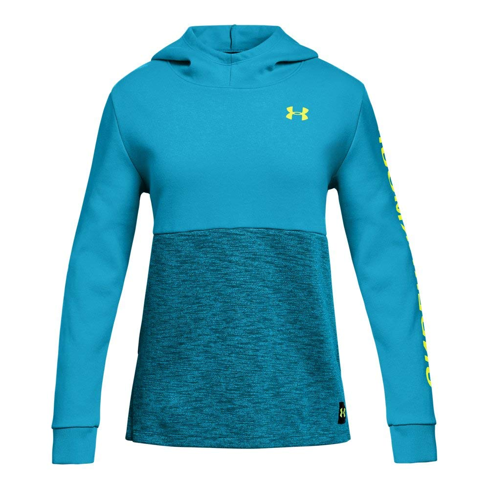 Under Armour Girls Double Knit Hoodie, Deceit (439)/High-Vis Yellow, Youth Small