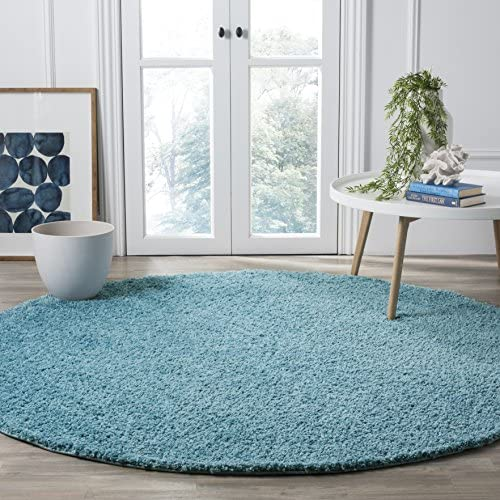 Safavieh Arizona Shag Collection ASG820T Southwestern Aqua Round Area Rug 6'7″ Diameter