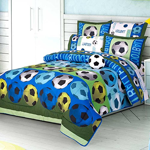 SOCCER TEAM CHIC TEENS BOYS REVERSIBLE COMFORTER SET,SHEET SET AND WINDOWS PANELS 10 PCS TWIN SIZE by JORGE'S HOME FASHION INC