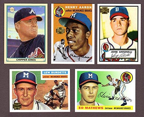 Atlanta Braves (5) Card Heros and Hall of Famer REPRINT Baseball Lot #71 (Chipper Jones) (Johnny Antonelli) (Hank...