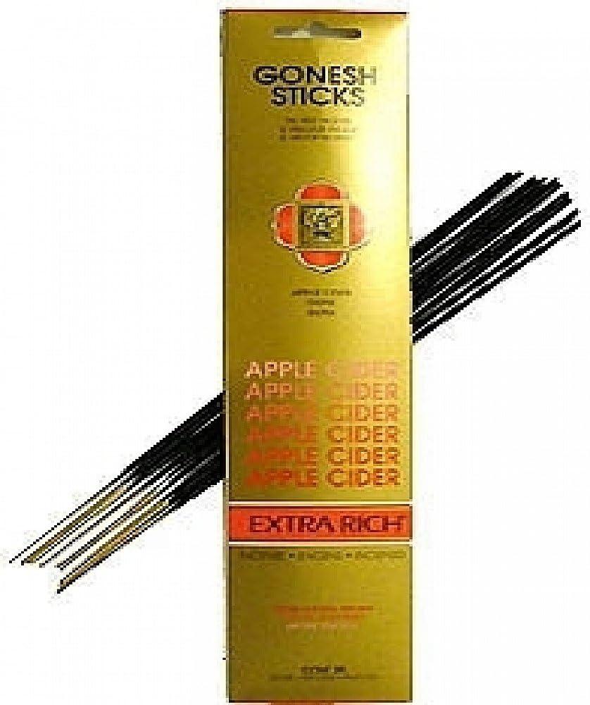 """Cultural Exchange Gonesh Apple Cider Incense Sticks [2 Packs x 20 Sticks Per Pack - Black - 10.5""""]"""