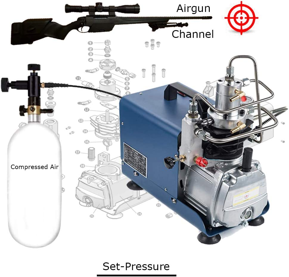 110V Adjustable Set-Pressure 4500PSI 300Bar 30MPA Electrical High Pressure Air Compressor Inflator PCP Rifle Airgun Scuba Air Pump