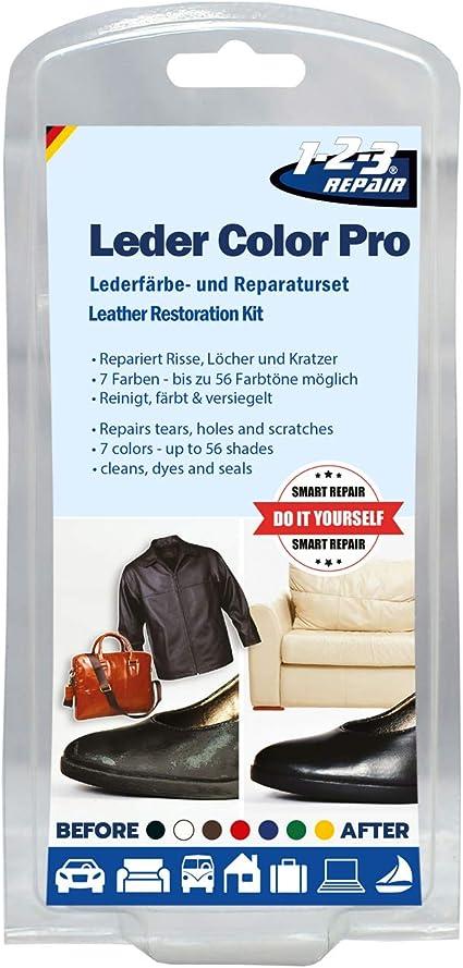 123repair Leder Color Pro Lederfärbe Und Reparaturset 17 Teilig Beseitigt Beschädigungen Auf Leder Und Kunstleder Schuhe Handtaschen