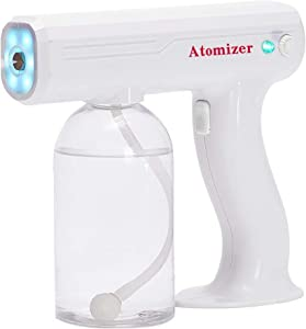 Disinfection Nano Steam Gun Wireless Blue Ray Nano Disinfection Spray Gun with Blue Light Ultra Fine Aerosol Water Mist Trigger for Office Home Clothes Vehicle