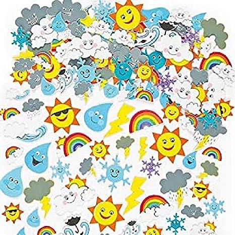 Pegatinas de Espuma con Diseños del Tiempo Atmosférico (Paquete de 96) Para decorar tarjetas, cuadernos, manualidades y collages infantiles: Amazon.es: Industria, empresas y ciencia