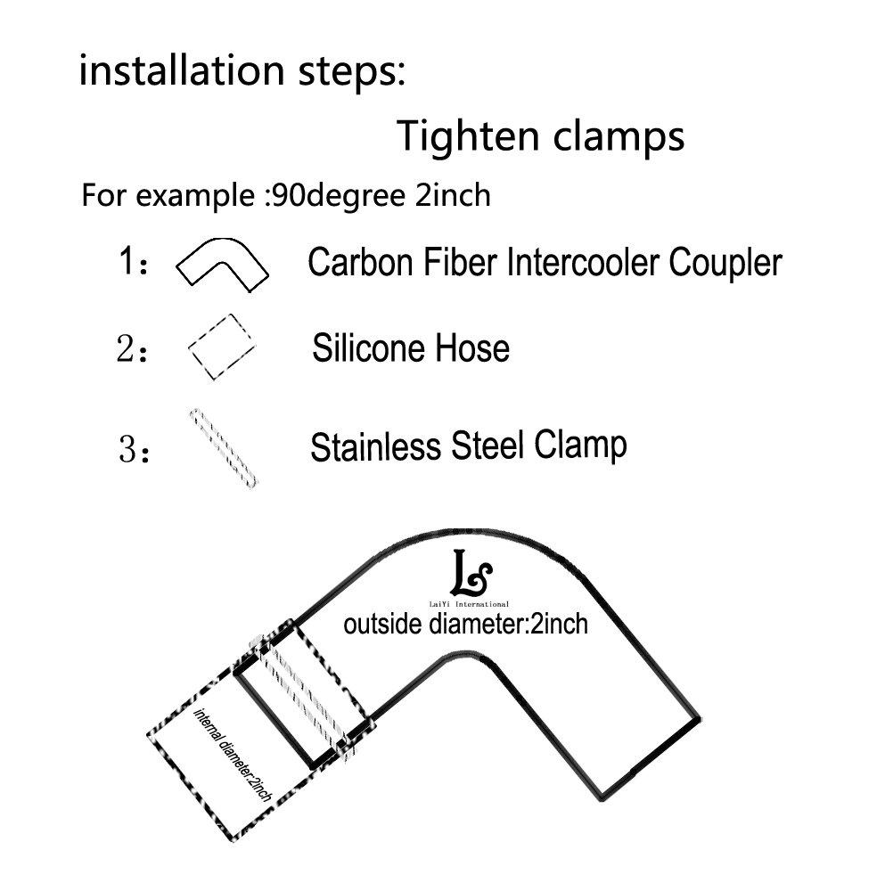 laiyi internacional 90 Grado universal de fibra de carbono alto rendimiento codo/Turbo Intercooler ingesta de//Radiador reductor acoplador manguera: ...