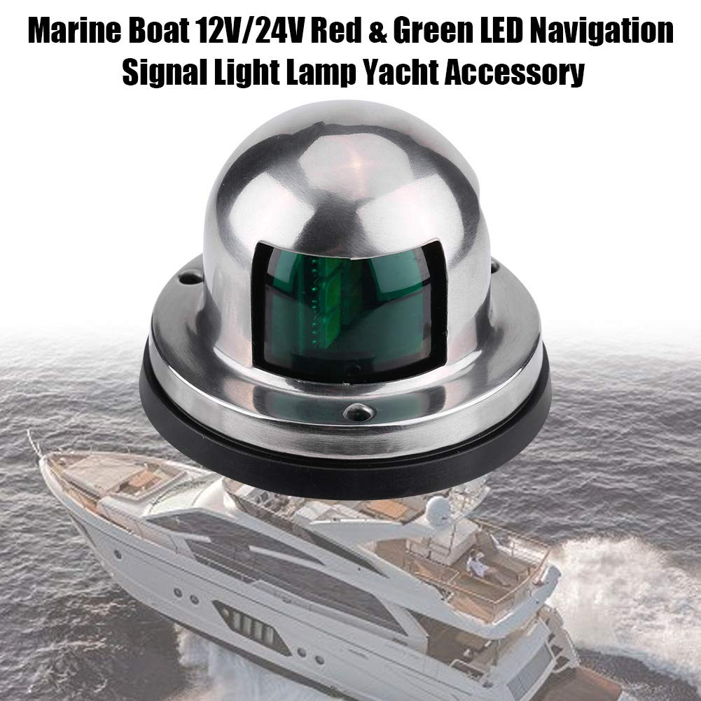 12V//24V LED Navigation Signal Light Marine Boat Stainless Steel Red and Green LED Navigation Signal Lamp Yacht Accessory Tools