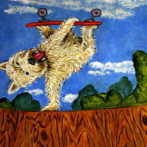 (Westie Skate Boarding West Highland White terrier dog art tile coaster gift)