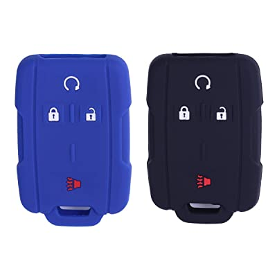 2Pcs XUHANG Sillicone key fob Skin key Cover Remote Case Protector Shell for Chevrolet Silverado Colorado GMC Sierra Yukon Cadillac smart Remote black blue: Automotive