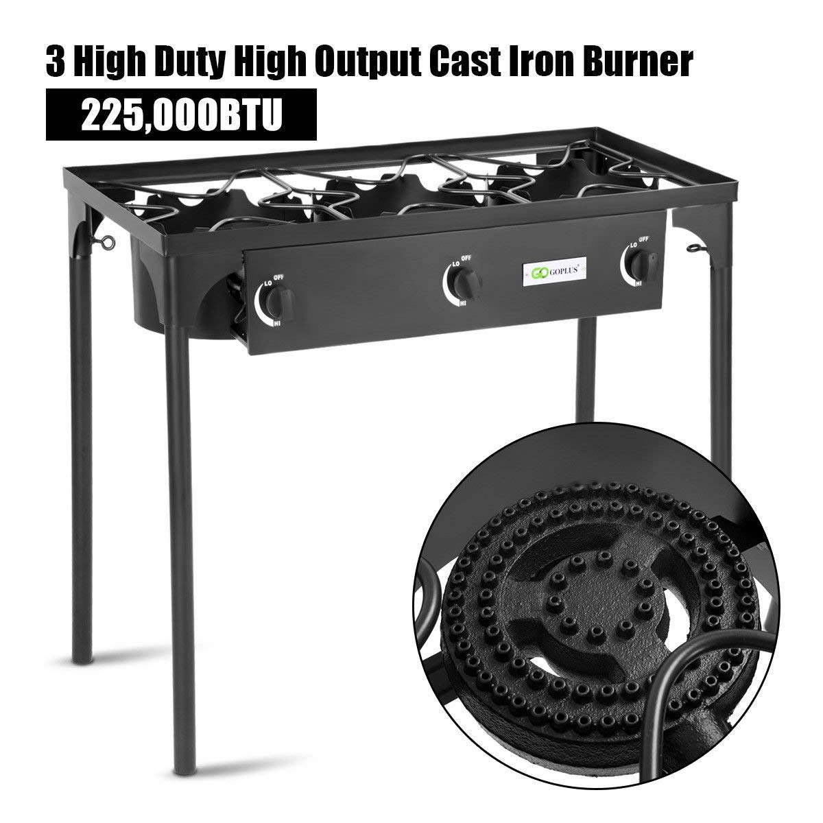 Goplus Outdoor Stove Portable Propane Gas Cooker Iron Cast Patio Burner w/Detachable Legs for Camp Cooking (3-Burner 225,000-BTU) by Goplus (Image #4)