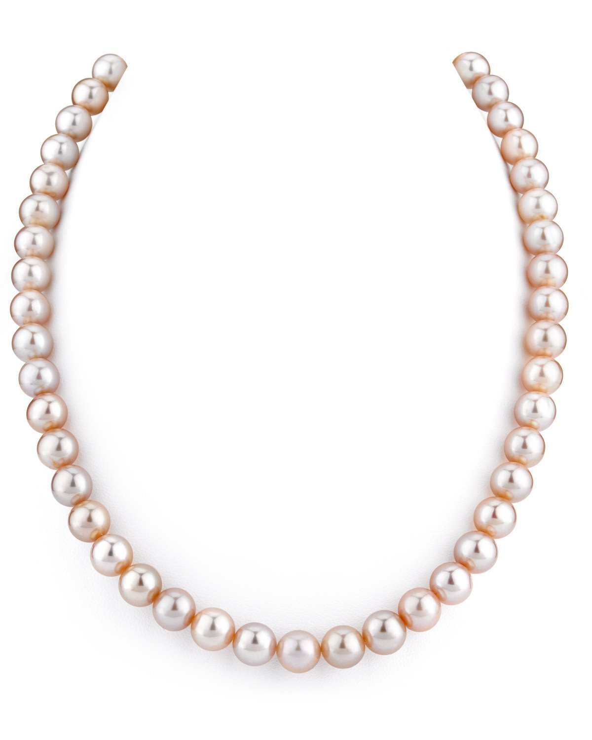THE PEARL SOURCE 14K Gold 8-9mm AAAA Quality Pink Freshwater Cultured Pearl Necklace for Women in 17'' Princess Length