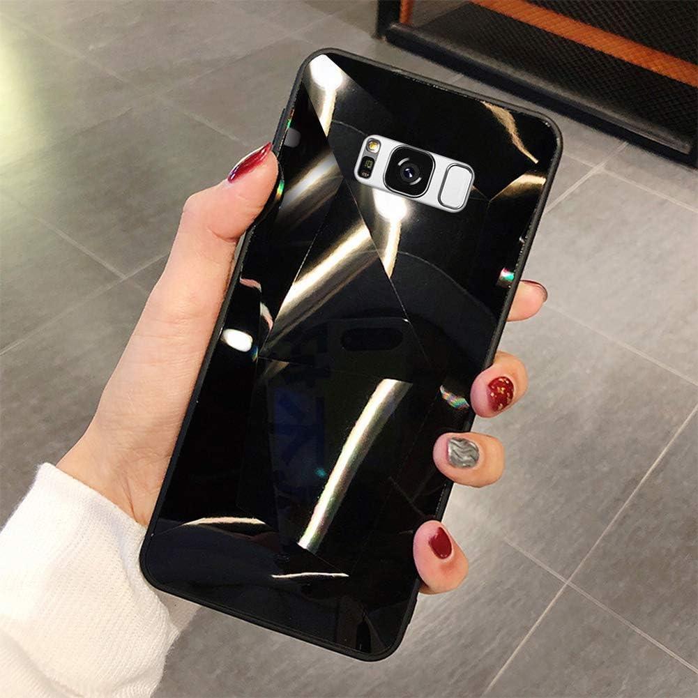 Uposao Compatible con Funda Samsung Galaxy S8 Purpurina Funda,Espejo Glitter Brillante Carcasa con 3D Geométrico Diseño TPU Slim Silicona Carcasa Funda Caso para Galaxy S8,Negro