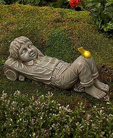 Garden Children W/ Solar Lighted Critter Statue Whimsical Garden Outdoor  Decor (boy)