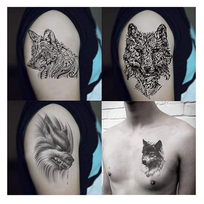 Etiqueta engomada del tatuaje Impermeable 3d Wolf Tattoo Big ...