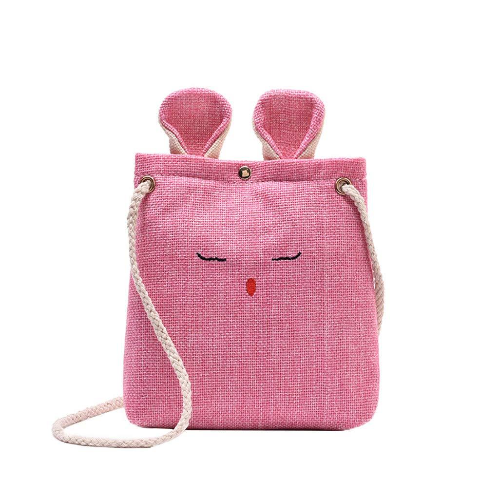 Women Burlap Cat Ears Small Square Bag Simple Cute Shoulder Crossbody BagHandbags&Clutches&Evening Bags