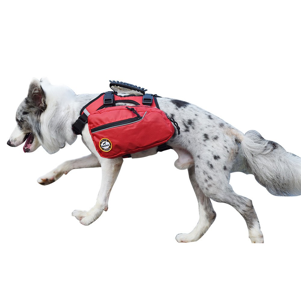 MY PET Dog Backpack Bagpacks Pack Back 2 in 1 Pets Harness Reflective Safety Adjustable Saddlebag Hiking Training Travel Accessories for Small or Large Dog Carry Products Waterproof Red FUZHOU WEIKAI PET PRODUCT LTD