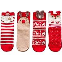 BESTOYARD Christmas Cartoon Animals Pattern Soft Knee Highs Stockings Cute Breathable Cotton Xmas Socks for Women Free Size 4 Pairs