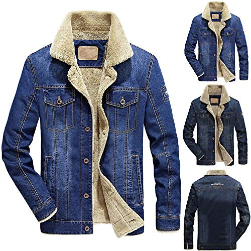 Binmer Mens Autumn Winter Pocket Button Flick Denim Hooded Jacket Top Coat at Amazon Mens Clothing store: