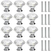 FOCCTS 12 stuks ladeknoppen commode meubelknoppen kristal 30 mm zinklegering kristalglas meubelknop handvat garderobe…