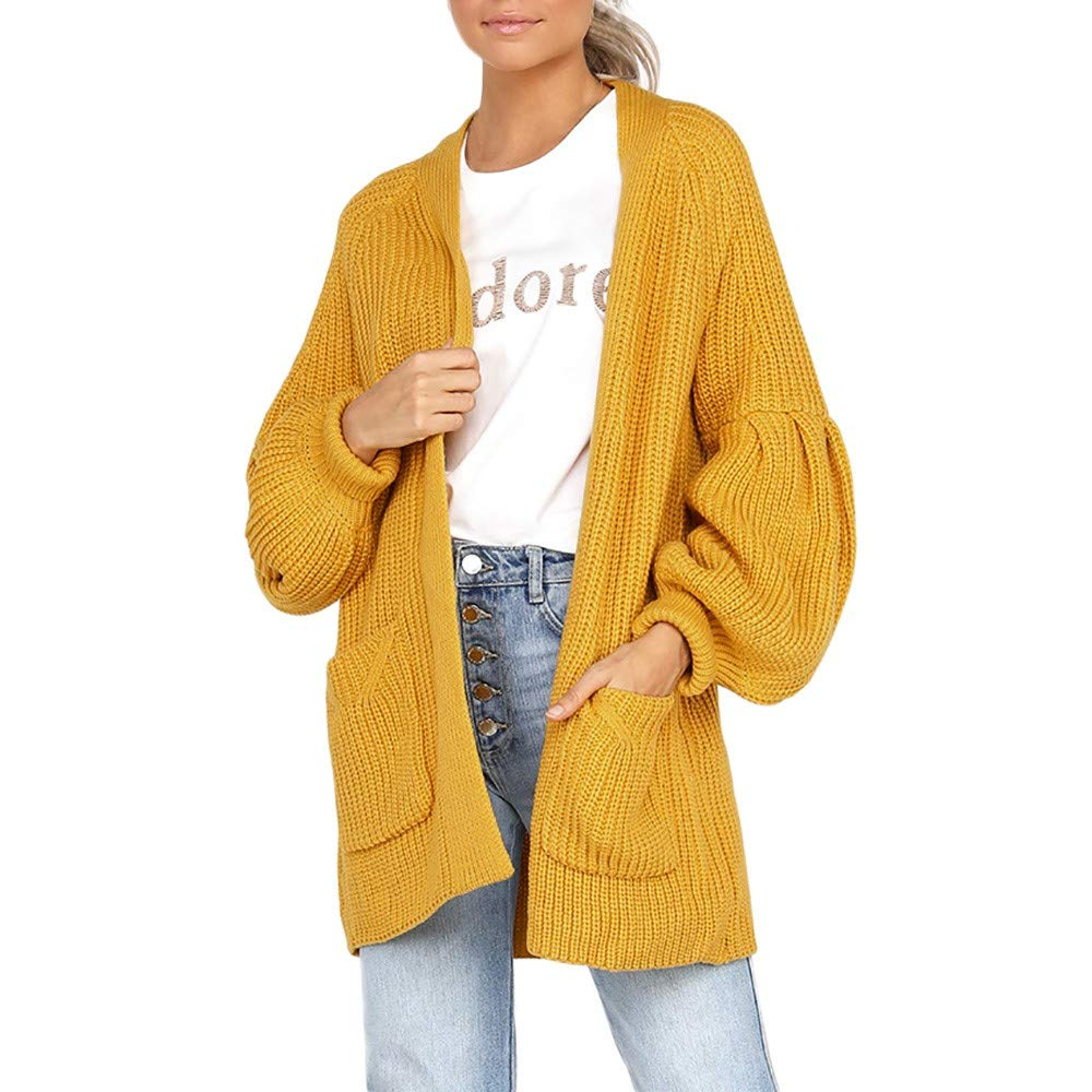 Hotsellhome New Fashion Womens Plus Size Tops Solid Long Sleeve Fashion Pocket Cardigan Sweater Coat Clothes