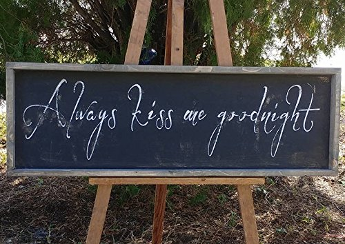 (Rustic and distressed Always kiss me goodnight sign/wood trimmed/farmhouse decor/bedroom decor)