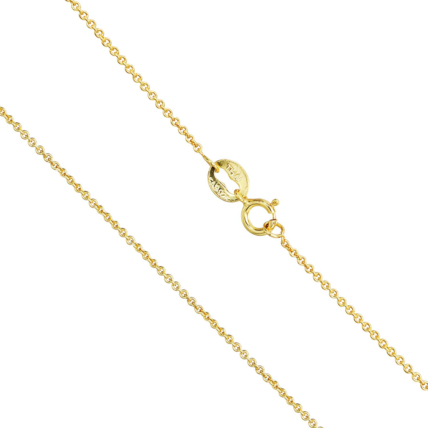 SEA OF ICE Yellow Gold Flashed Sterling Silver 1mm Round Cable Chain Necklace, 14-36 inch Size 14 inch Silver Ice Ltd