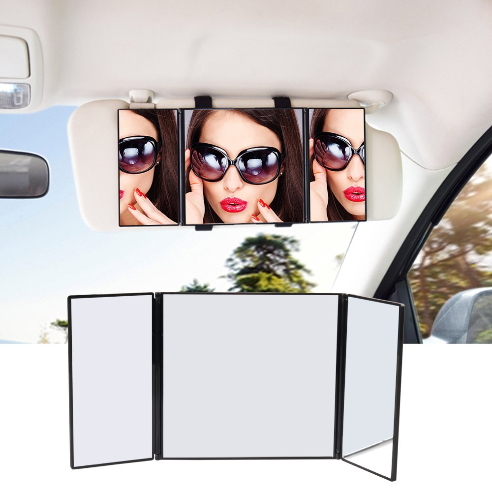 Car Tri-fold Visor Vanity Mirror, 12 inch Universal Folding Makeup Travel-Cosmetic Mirror Clip On Sun Visor for Most Car STYDDI