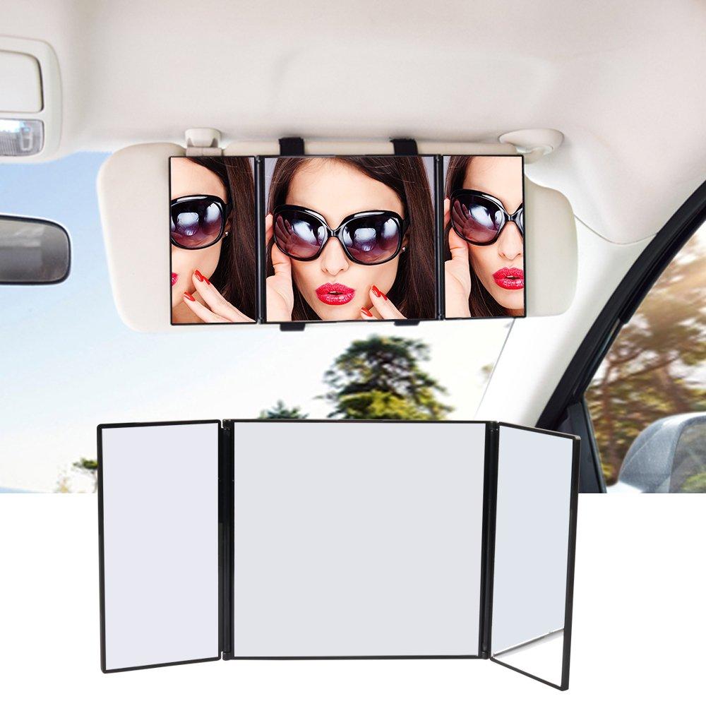 Specchio parasole da auto, universale auto/auto trucco pieghevole specchio cosmetico, clip on sole-ombreggiatura specchio per auto camion SUV retrovisore by Atkke