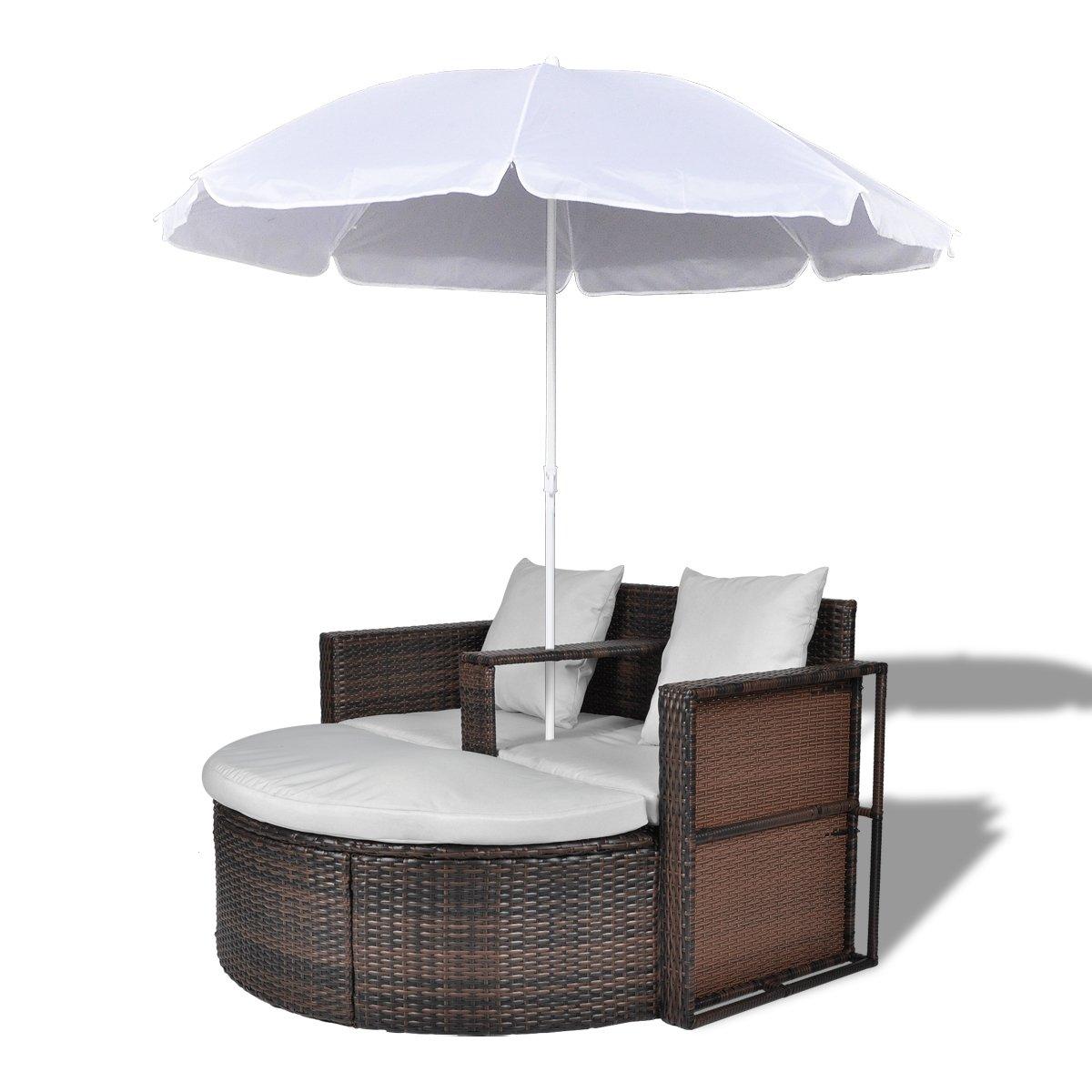 vidaXL Gartenlounge Poly Rattan Lounge Set Gartengarnitur Braun ...