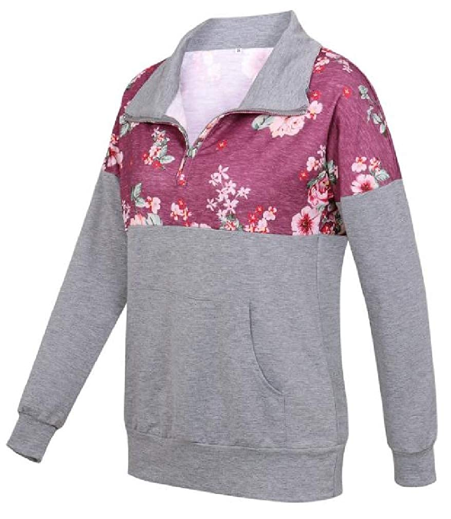 pipigo Womens Pocket Lapel Neck Print Zip Up Pullover Sweatshirts