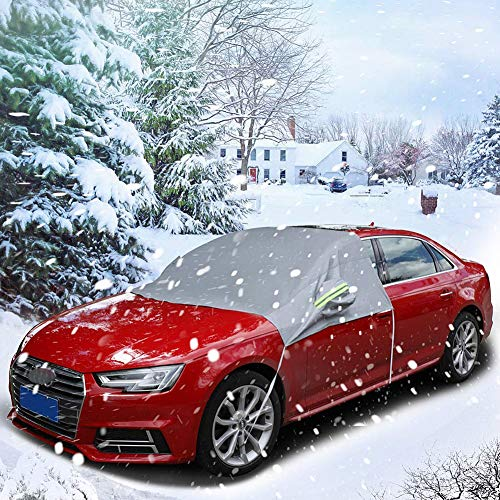 FOLCONROAD Car Windscreen Cover Windshield Cover Sunshade Ice and Frost Guard Fits SUV Truck Car with Side Wing Mirror Cover & Reflective Warning Bar & S-Hooks ()