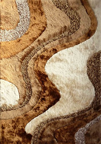 (Rug Factory Plus 29 Shaggy Viscose Design Area Rug, 5 by 7-Feet, Brown and Beige)