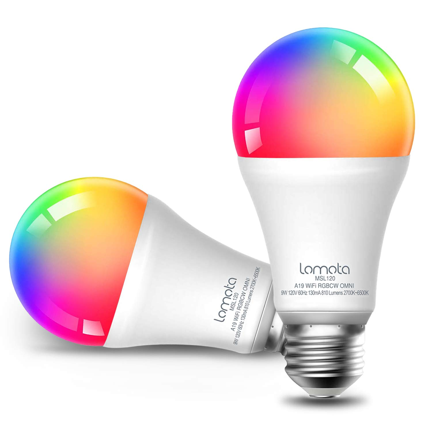 WiFi Smart Light Bulb Dimmable, Compatible with Alexa and Google Assistant, 2700K-6500K RGBCW, 810 Lumens 60W Equivalent, Lomota A19 E26 WiFi LED Light Bulb, No Hub Needed - 4 Pack