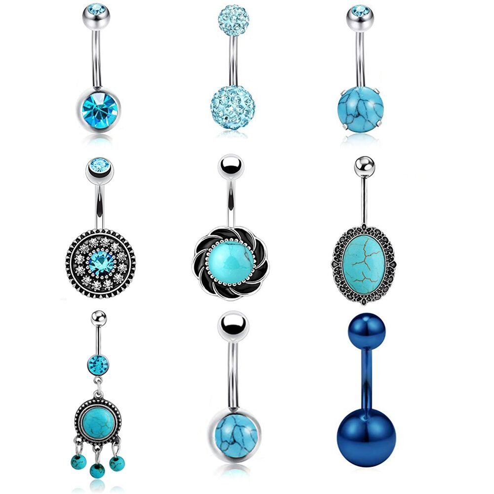 JDXN 9Pcs 14G Stainless Steel Belly Turquoise Blue CZ Button Rings For Women Girls Crystal Naval Ring Body Piercing Jewelry (Style 2)