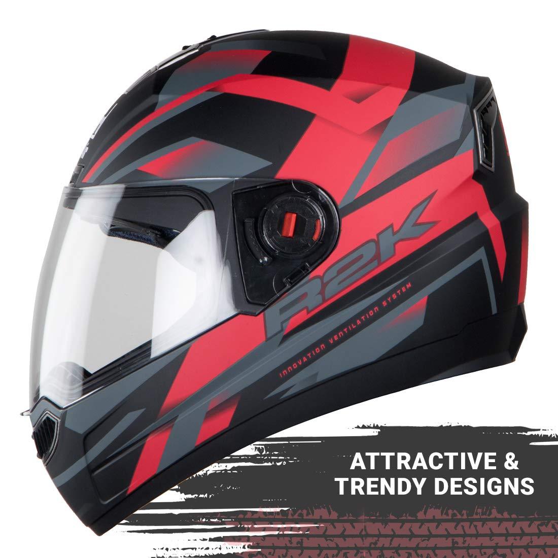 Stylish Matt Black with Red Steelbird SBA-1 R2K Full Face Graphics Helmet