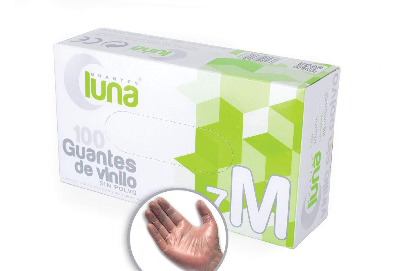Luna V14106 Caja de 100 Guantes de Vinilo sin Polvo Talla Peque/ña