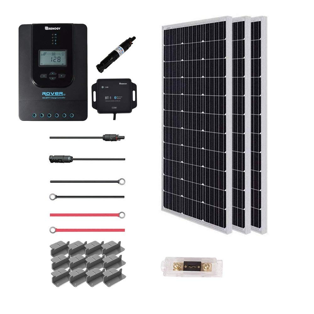 Renogy 300 Watt 12 Volt Off Grid Premium Monocrystalline Solar Panel and 40A MPPT Rover Controller/Mounting Z Brackets Adaptor Kit/Tray Cables Set /MC4 Fuse, 300W-40A by Renogy