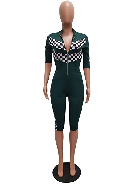 46a767ed581e Amazon.com  PrettySoul Womens Sexy Athletic Short Sleeve Zipper Front  Plunging Plaid Bodycon Cropped Capri Jumpsuit Romper  Clothing
