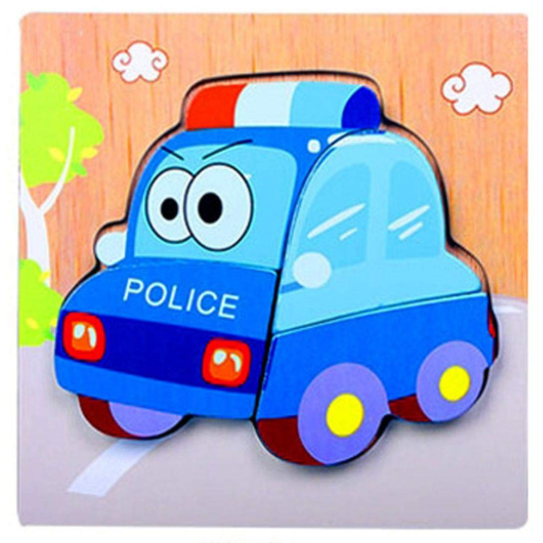 Cloudro Baby Educational Toys,Wooden Jigsaw Puzzles Early Learning Training Toy Cute Animals for Boys and Girls Gift Cheap,Cute Animal Car (Police car)